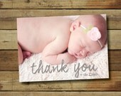 Printable photo thank you note custom photo card print from home baby shower thank you photo card