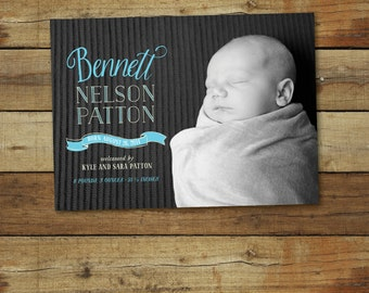 Photo birth announcement, hand lettered, for baby boy or baby girl