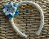 Girls hairband, Girls Headband, white and turquoise hairband, flower hairband, childs headband, alice band, rigid headband