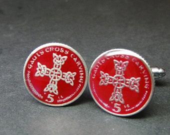 Isle Of Man coin cufflinks 5 pence 18mm