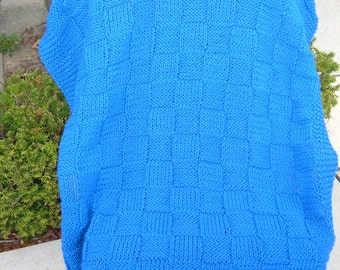 Super Sale - Royalty Checkerboard Basket - 35 inch x 45 inch~ Knitted Baby/Lap Blanket  - FREE SHIPPING