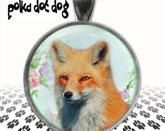 Foxy Face -- Fox Large Glass-Covered Pendant