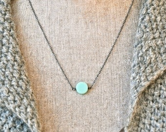 Simple mint green dot sterling silver oxidized necklace. Tiedupmemories