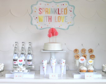PRINTABLE 'sprinkled with love' party decor, labels and signs- complete printable party kit by kojodesigns