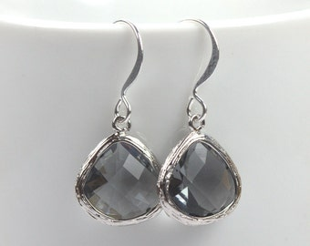 Charcoal Gray Silver Framed Dangle Earrings, Charcoal Silver Dangle Earrings, Silver Earrings, Bridal Earrings, Gray Silver Earrings, #794