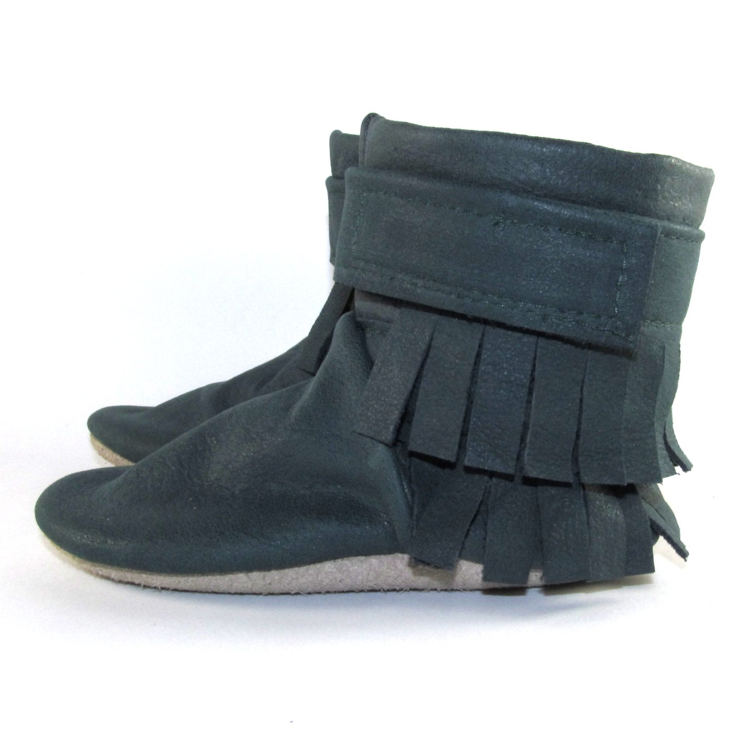 soft sole leather fringe baby shoes boots 6 to 12 by kaboogie