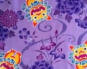 HALF YARD Kobayashi Shishi Dragon Floral lavender purple Japanese cotton fabric