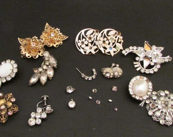 Vintage Bits and Broken Jewelry Lot for Repair or Crafting