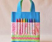Crayon Bag Crayon Tote READY to Ship ARTOTE MINI in Technicolor Paisley