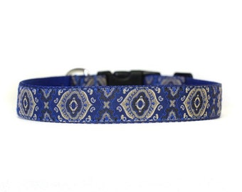 1 Inch Wide Dog Collar with Adjustable Buckle or Martingale in Magnifico Blue