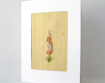 Golden anniversary card, 50th anniversary card, peach flowers card, embroidered card, botanical card, keepsake card, silk ribbon card