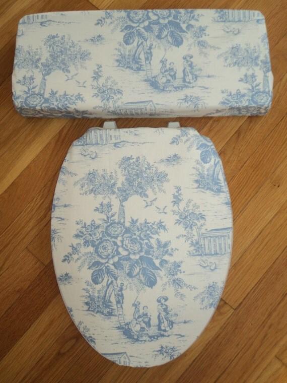 Toile Blue Ecru Ivory Toilet Seat Amp Tank Lid Cover Set