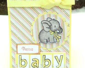 Baby Announcement, Handmade Baby Card, New Baby Card, Newborn Card, Precious Baby, Yellow Stripes Elephant Baby Card