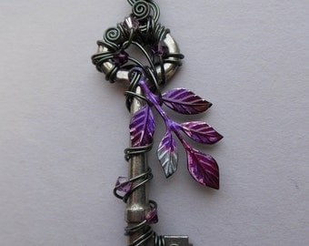 Purple-Pink Dark Fairy Tree Wire Wrapped Key Pendant -- purple, pink and silver inked leaf sprig, hematite wire, Swarovski crystals