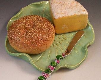 Serving Tray/Cheese Platter/Party Platter in French Country Green with Beaded Knife Spreader