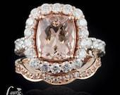 Morganite Ring, Rose Gold Diamond Wedding Band, Contoured Wedding Band, Cushion Cut Morganite Engagement Ring - LS2257