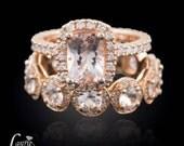 Rose Gold Morganite Engagement Ring, Rose Gold Morganite Diamond Halo Engagement Ring, Morganite Ring, Peach Sapphire Ring - LS3710