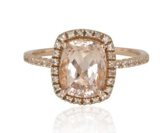 Morganite Engagement Ring, Morganite Cushion Cut Ring, White Sapphire Engagement Ring, Diamond Alternative Engagement Ring - LS3112