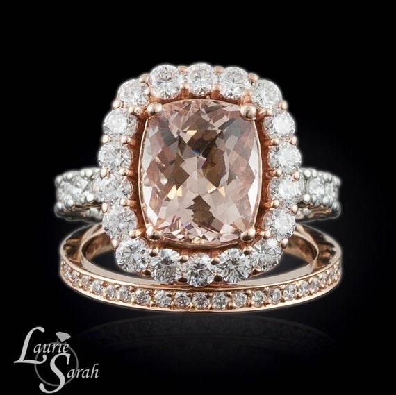 Morganite Ring, Rose Gold Morganite Wedding Set, Cushion Cut Morganite Engagement Ring, Rose Gold Diamond Wedding Band - LS2259