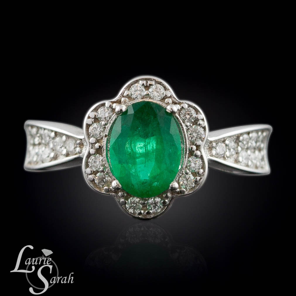 Emerald Engagement Ring Oval Emerald And Diamond Engagement