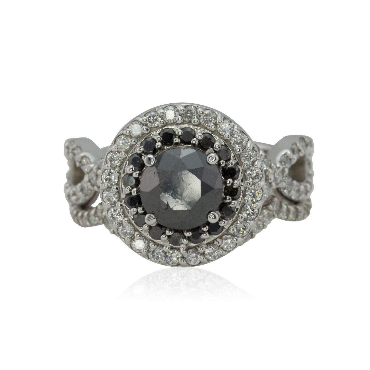 Black Diamond Double Halo Engagement Ring with Diamond
