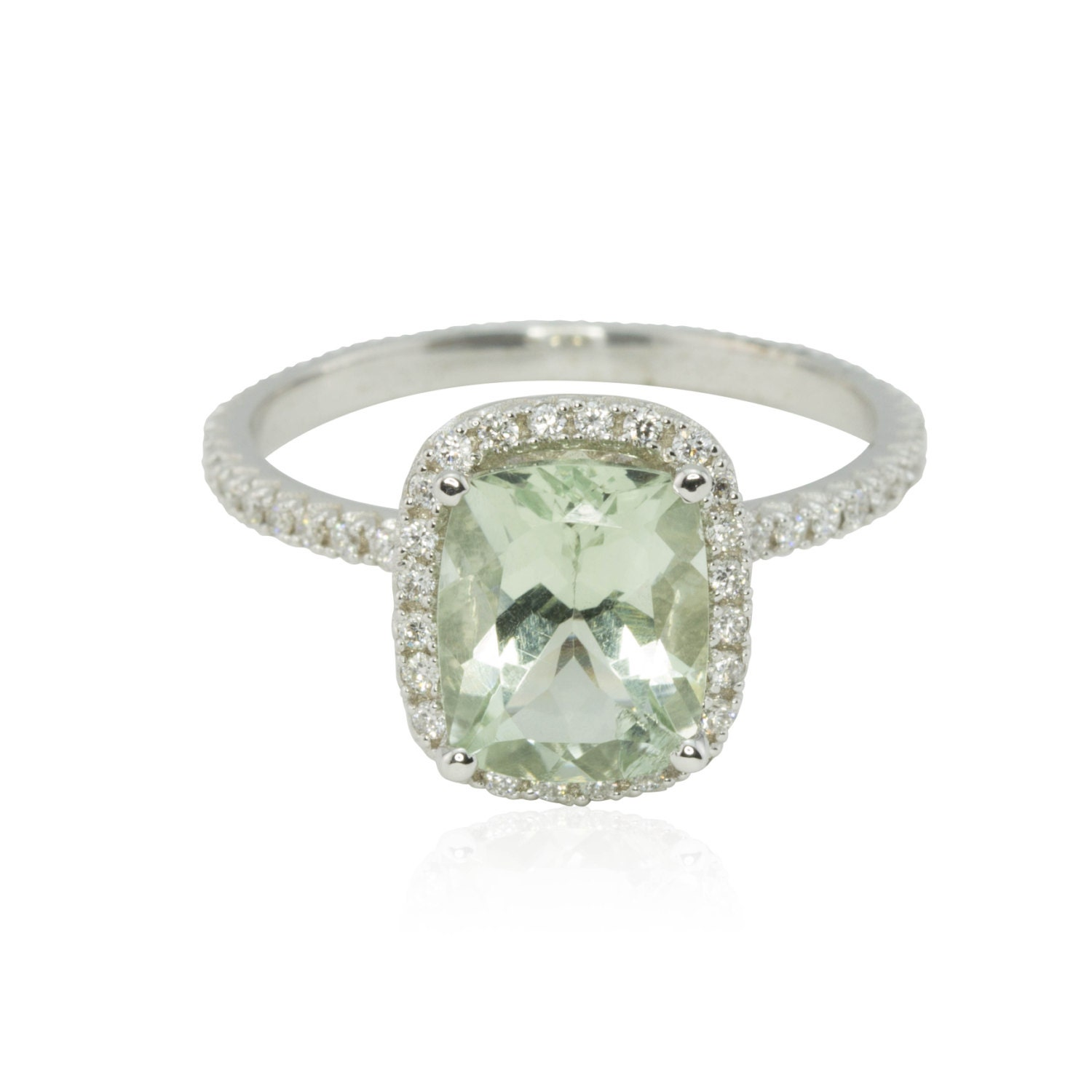 Engagement Ring Cushion Cut Prasiolite Ring by LaurieSarahDesigns