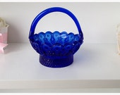 Easter Decoration Vintage  Easter Basket in Cobalt Blue TVAT Easter Decoration