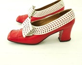 Vintage 60s Red and White Shoes POLK DOT BOW Cut Out Red Leather Heels 7.5