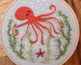 Octopus Crewel Embroidery Pattern