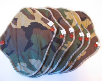 Cloth Pads / Mama Pads SET OF 6 Camo Print .. 8 Inch  Pantyliner Thickness FREE Shipping