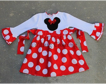 Minnie Mouse Red Jumbo Dot Dress, Red White Polka Dot Minnie Mouse Dress, Minnie Mouse Birthday Girl Dress, Minnie Mouse Girl Outfit