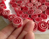 16 Bundle Package CANDY CANE Nickel Dime Quarter Size Sushi - Red/White also in Green/White