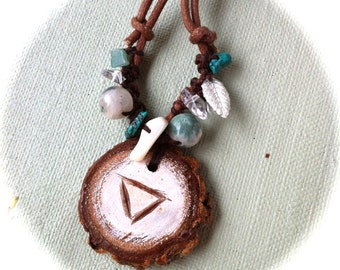 Water and Earth Casurina Charm Necklace with Turquoise, Clear Quartz, Moss Agate and metal beads