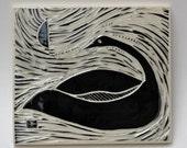 swan in moonlight, facing left, hand carved ceramic art tile