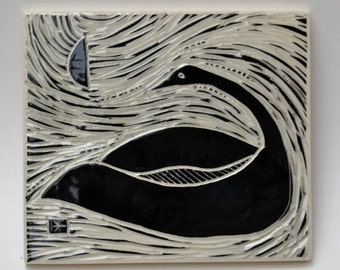 swan in moonlight, facing left, hand carved ceramic art tile