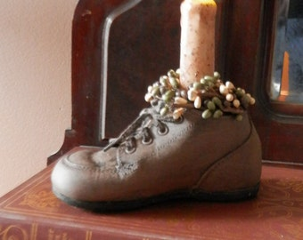 Upcycled Vintage Primitive 1940's Baby Shoe with Candle LIght