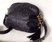 AW13 Leather bag in basket weave embossed leather