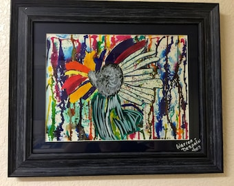 "Watercolor ""Intense Flower"" One of a Kind Hand Painted Watercolor Matted and Framed"