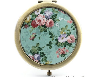 1pcs Vintage Flower Photo Pocket Mirror Compact Mirror Antique Bronze Silver Gold Makeup Mirror, Personalized Mirror - HPM008G