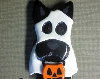 Scottish Terrier Ghost Halloween Pin Artist Hand-Made OOAK Brooch Scottie Dog Art Jewelry D5
