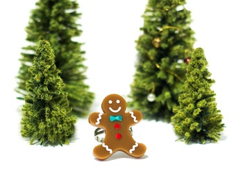 Gingerbread man Ring,Christmas Jewelry