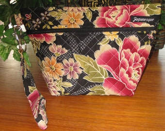 Peonies Japanese Design Quilted Cosmetic Wrist Strap Pouch with Water Resistant Lining