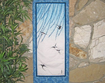 Quilted Wall Hanging Swallows and Willows Japanese Asian Design Scroll Size