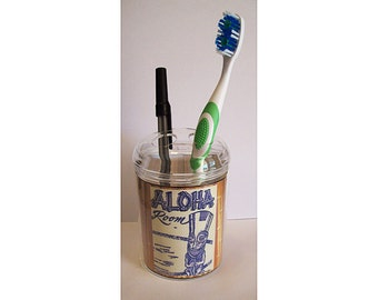 Tiki toothbrush holder retro 1950's vintage hawaii rockabilly bathroom pen holder kitsch