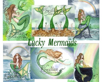 Blank LUCKY MERMAIDS Note Cards from Original Watercolors by Camille Grimshaw