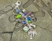 Beaded Beach Keychain with Charms, Gift for Beach Lover
