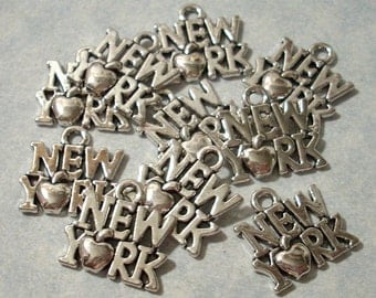 10 New York Charms 14 x 14mm  State Charms Big Apple Charms