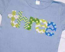 Boys Third Birthday THREE shirt - size 4 short sleeve tshirt - Light blue primary blue and lime green chevron polkadots argyle