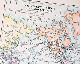 Small Antique Map - US Map - Transportation Routes and Telegraph Lines - 1912 Antique Map - Vintage Book Page - 9 x 7
