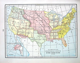 Map Showing The Territorial Growth of the United States - 1899 Antique Map - 15 x 11